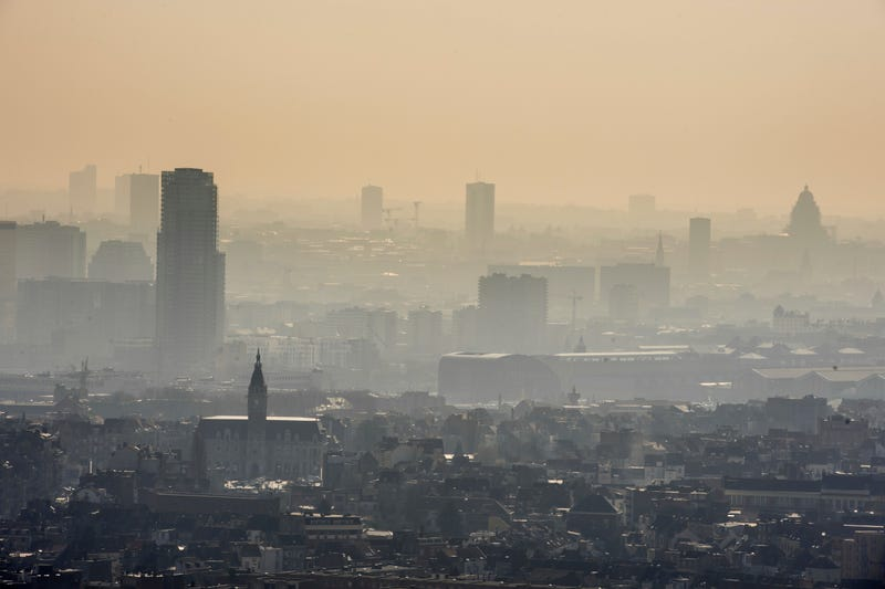 A layer of smog covers the city of Brussels, March, 2014