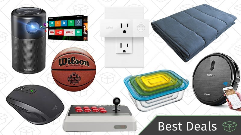 Illustration for article titled Monday's Best Deals: Weighted Blanket, Portable Projector, Robotic Vacuum, and More