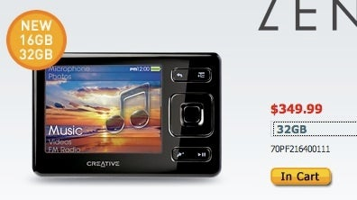 Illustration for article titled 32GB Creative Zen Available Now, Really?