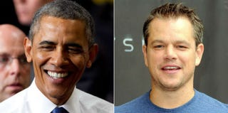 President Barack Obama (Jessica McGowan/Getty Images); Matt Damon (Kevin Winter/Getty Images)