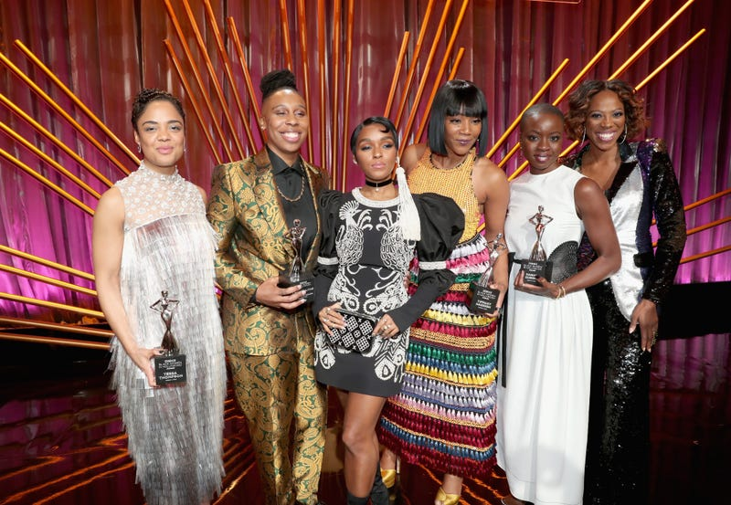 Tessa Thompson, Lena Waithe, Janelle Monáe, Tiffany Haddish, Danai Gurira and Yvonne Orji onstage during the 2018 Essence Black Women In Hollywood Oscars Luncheon on March 1, 2018, in Beverly Hills, Calif.