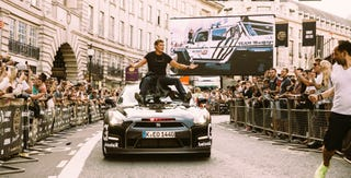 Illustration for article titled Here Is David Hasselhoff Riding A GT-R At The Gumball