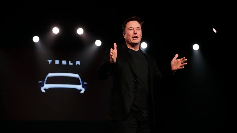 Elon Musk speaking at a Model Y launch event at Tesla's design studio in Hawthorne, California on March 14, 2019.