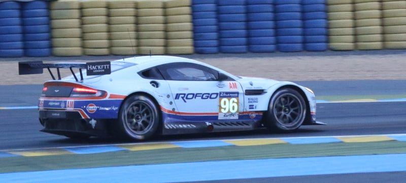 Illustration for article titled Aston Martin Hits Concrete Wall At Le Mans; Driver In Medical Center