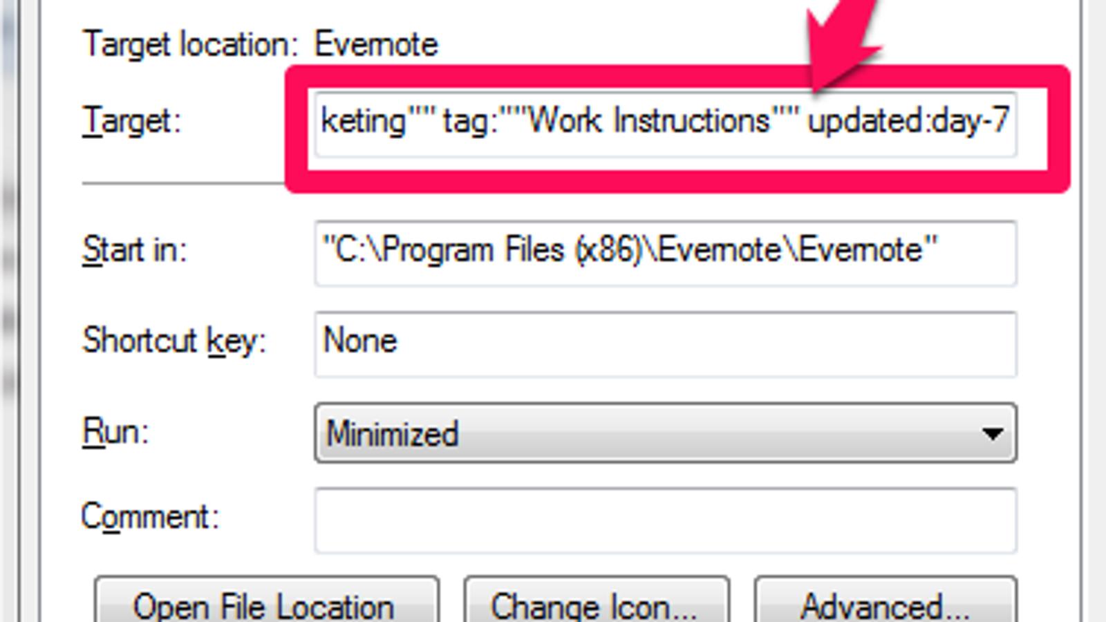 Evernote Search: Desktop Shortcuts, Command Line Parameters (PC)