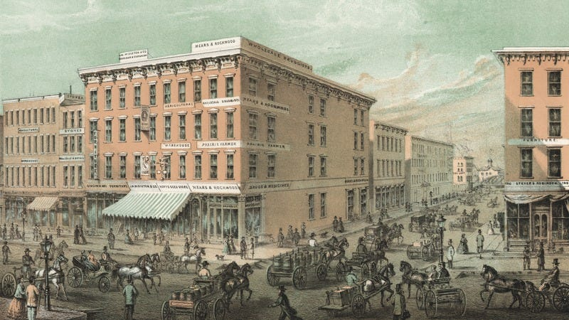 Color lithograph showing the hustle and bustle typical of Chicago before the 1871 fire, published by Jevne and Almini, 1866. (Photo: Chicago History Museum/Getty Images)