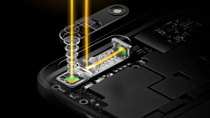 La cámara-periscopio de Oppo en su configuración actual, con dos cámaras y zoom 5X en lugar de tres cámaras y zoom 10X