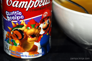 Illustration for article titled Campbells Mario Chicken Noodle Soup: A SnackTAYku Review (?)