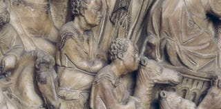 Nicola Pisano, black camel drivers in the cortege of the Magi, relief on a pulpit (detail), 1266-68, marble. Siena Cathedral.