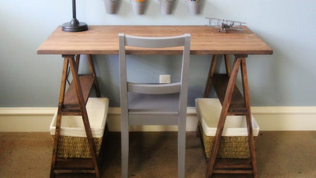 build your own sawhorse desk for more work space. Black Bedroom Furniture Sets. Home Design Ideas