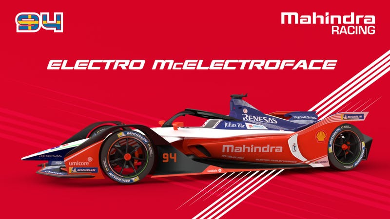 """Illustration for article titled Formula E's Mahindra Racing Team Is Actually Naming One of Their Cars """"Electro McElectroface"""""""