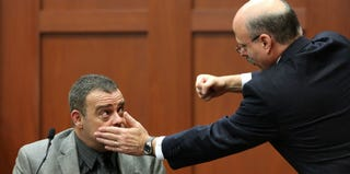 Prosecutor Bernie de la Rionda (R) demonstrates a scenario while questioning Chris Serino (Joe Burbank/Getty Images)