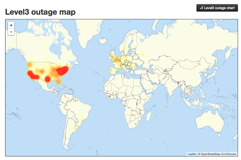 This Is Why Half The Internet Shut Down Today - Internet outage map of the us