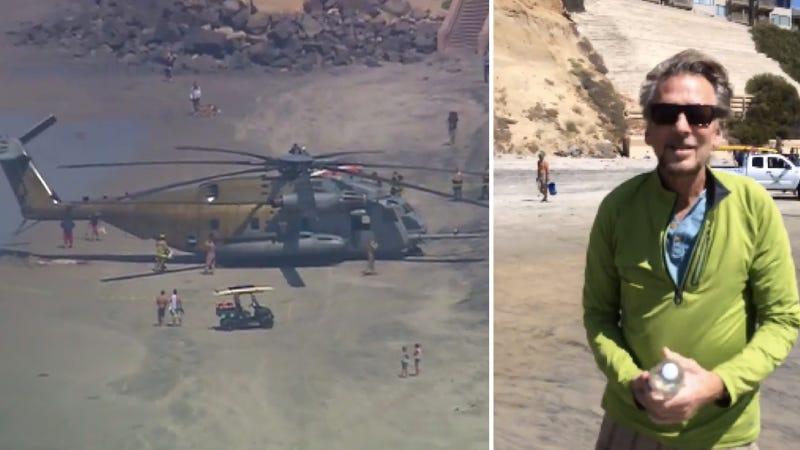 Illustration for article titled Watch Kenny Loggins Enter Danger Zone As Massive Chopper Lands On Beach