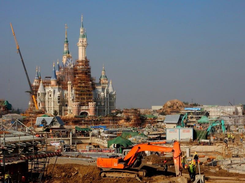 Construction of Shanghai Disneyland on December 26, 2015