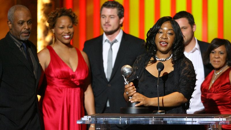 Zoanne Clack (second from left) and Shonda Rhimes (front and center) accepting an NAACP award for Grey's Anatomy. Photo credit: Getty Images
