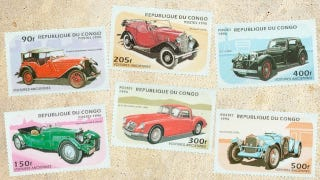 Illustration for article titled Postal stamp dreams of vintage cars in the Congo