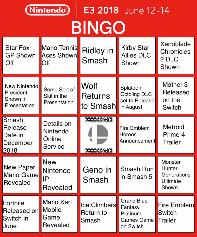 Illustration for article titled My Nintendo E3 Presentation Bingo Card