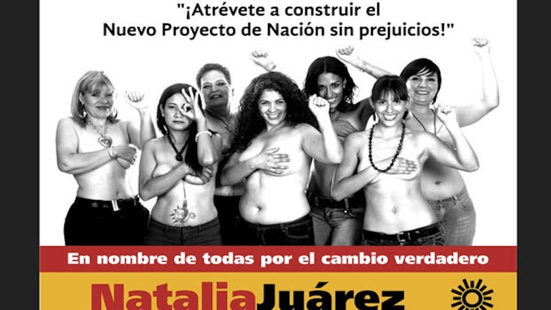 Illustration for article titled Mexican Female Politician Poses Topless on Billboard, People Freak