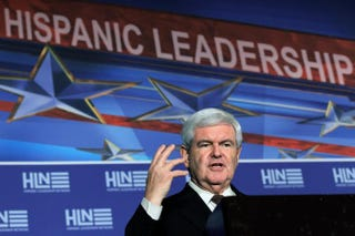 Newt Gingrich, a 2012 Republican presidential candidate and former speaker of the House, makes remarks after being endorsed by the National Hispanic Leadership Network at the Doral Golf Resort and Spa on Jan. 27, 2012, in Miami. Joe Raedle/Getty Images
