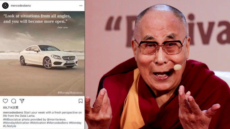 Illustration for article titled Mercedes-Benz Apologizes For Quoting Dalai Lama On Instagram