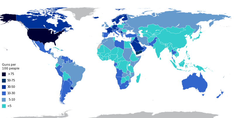 Illustration for article titled A map showing which countries own the most guns