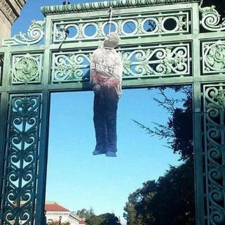 Black figures found hanging in effigy Saturday on the Berkeley campus of the University of CaliforniaTwitter