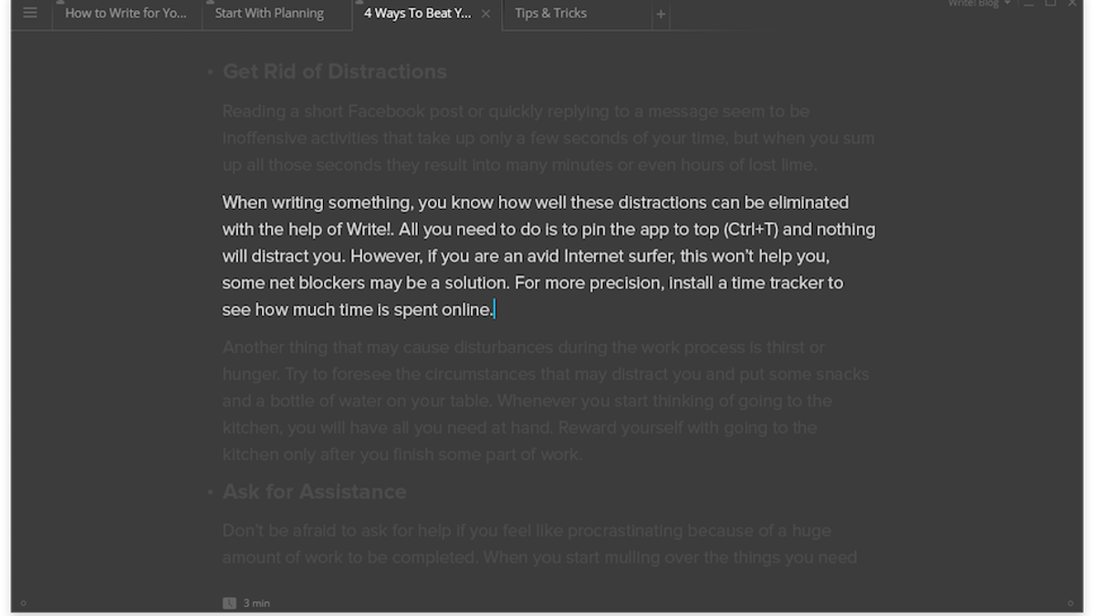 Write!, the Elegant Distraction-Free Writing App, Comes to
