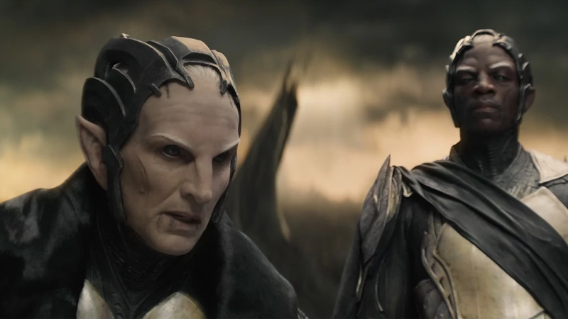 An apparently very miserable Christopher Eccleson as Malekith in Thor: The Dark World.