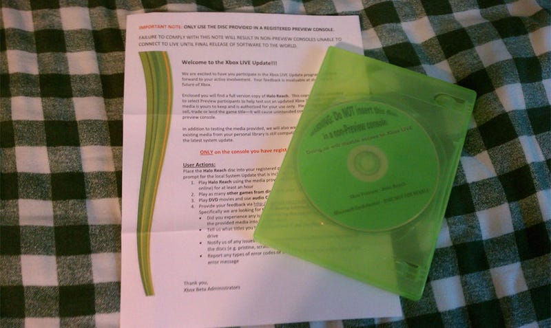 Illustration for article titled This Is What Xbox Live System Update Testers Are Getting In The Mail