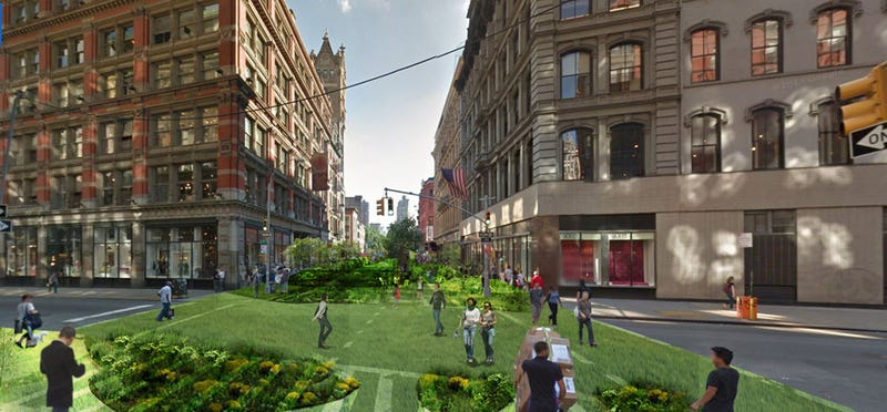 Illustration for article titled A Totally Feasible Plan to Turn Manhattan's Busiest Street Into a 40-Block Park
