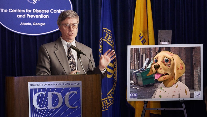 A CDC spokesperson announced that Raw Dog the STI Pup would be featured on thousands colorful posters, stickers, and storybooks distributed to elementary schools across the country.