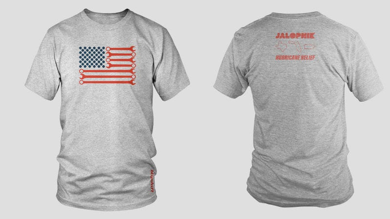 Illustration for article titled Get The Jalopnik Hurricane Relief T-Shirt From Blipshift Because It's For A Great Cause