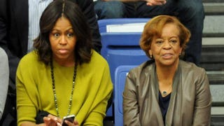 First lady Michelle Obama and her mother, Marian Robinson, at a women's college basketball game between the Princeton Tigers and the American University Eagles at Bender Arena Nov. 23, 2014, in Washington, D.C.Mitchell Layton/Getty Images