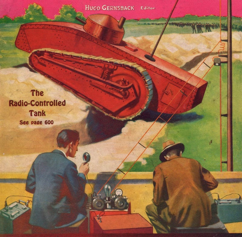 Cover of the April 1931 issue of Radio-Craft magazine showing off the radio-controlled tank