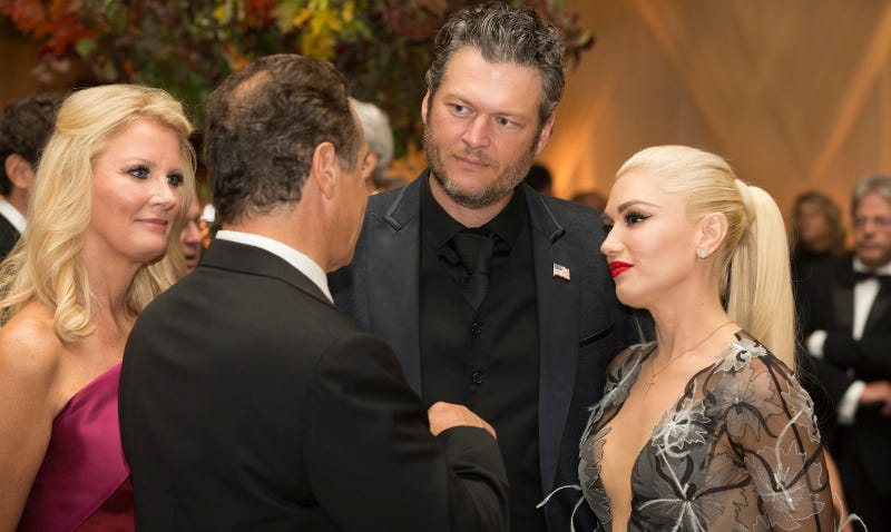 Gwen Stefani and Blake Shelton meet NY Governor Andrew Cuomo and chef Sandra Lee. Images via AP.