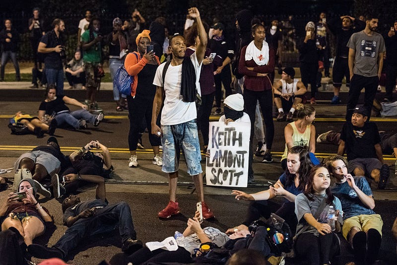 Demonstrators take part in a protest Sept. 22, 2016, in Charlotte, N.C., over the fatal police shooting of 43-year-old Keith Lamont Scott.Sean Rayford/Getty Images