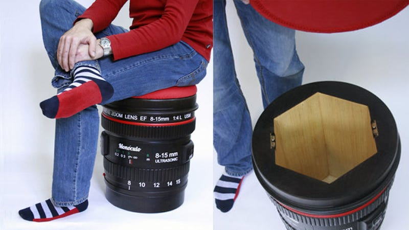 Illustration for article titled Store Your DSLR In This Camera Lens Stool So Your Most Expensive Possessions Can Hang Out