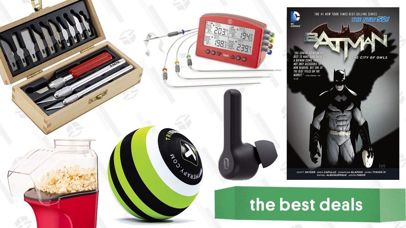 Illustration for article titled Saturday's Best Deals: True Wireless Headphones, Lawn Tools, Batman Comics, And More