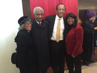 Alline Reese, the Rev. Frederick D. Reese, Selma Mayor George Evans and Selma native Rep. Terri Sewell (D-Ala.) in the lobby of Selma, Ala.'s Walton Theatre Jan. 10, 2015Sherrel W. Stewart
