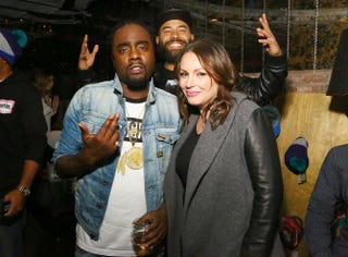 "Wale, Ebro ""Old Man Ebro"" Darden and Angie Martinez attend the Wrkng Title Fall 2014 press event at Manon on April 8, 2014, in New York.Astrid Stawiarz/Getty Images for Roc Nation"