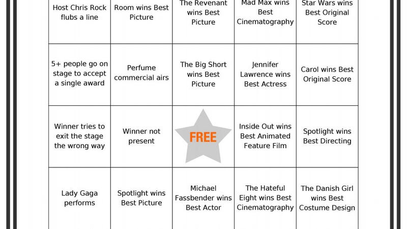 Illustration for article titled Liven Up Your Oscar Night Party with These Printable Bingo Cards