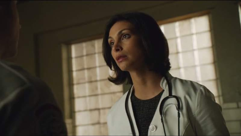 Morena Baccarin on Gotham, just as startled as the rest of us