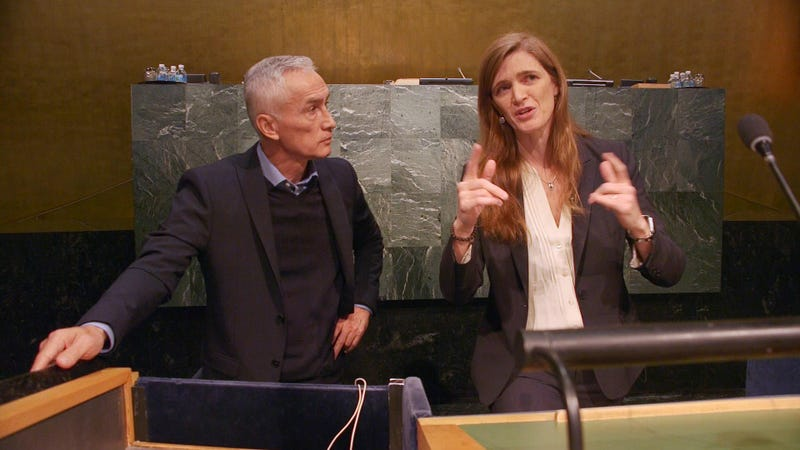 Jorge Ramos and former US Ambassador to the Untied Nations at UN Headquarters in New York.