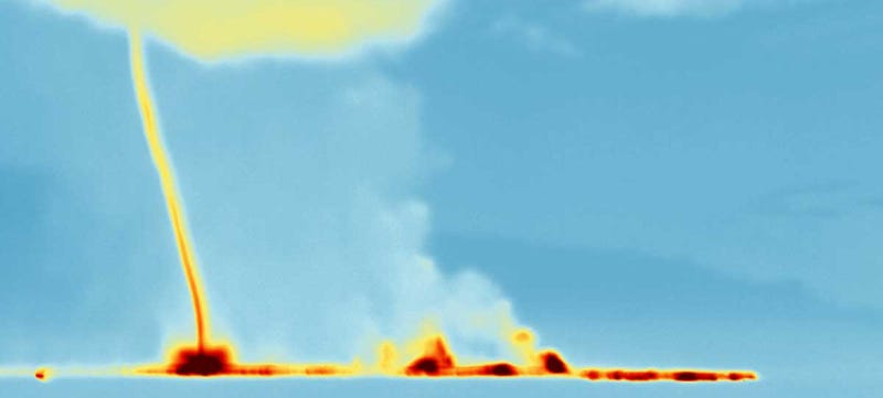 Illustration for article titled This Is a Swirling Thermal Tornado Rising From Iceland's Volcano