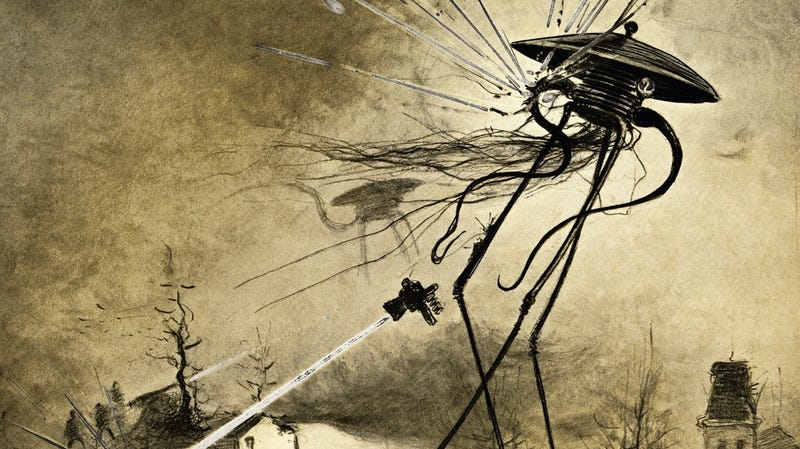 An illustration from a 1906 edition of H.G. Wells' War of the Worlds by Henrique Alvim Corrêa.