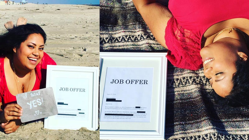 Long Beach Woman Announces Job Acceptance Like Engagement Photo Shoot