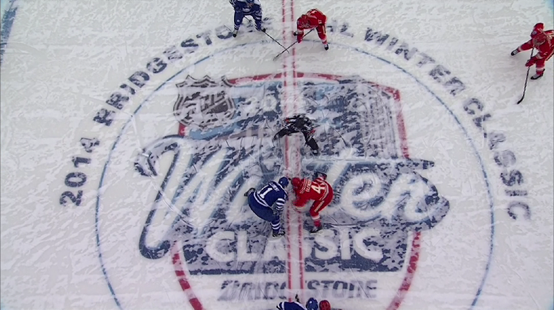 Illustration for article titled The Winter Classic Just Started And The Ice Is Already Covered In Snow