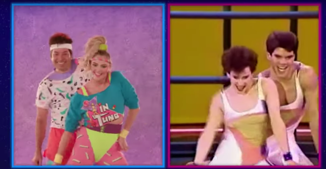 Jimmy Fallon and Kate Upton feel the burn in an '80s aerobics dance challenge