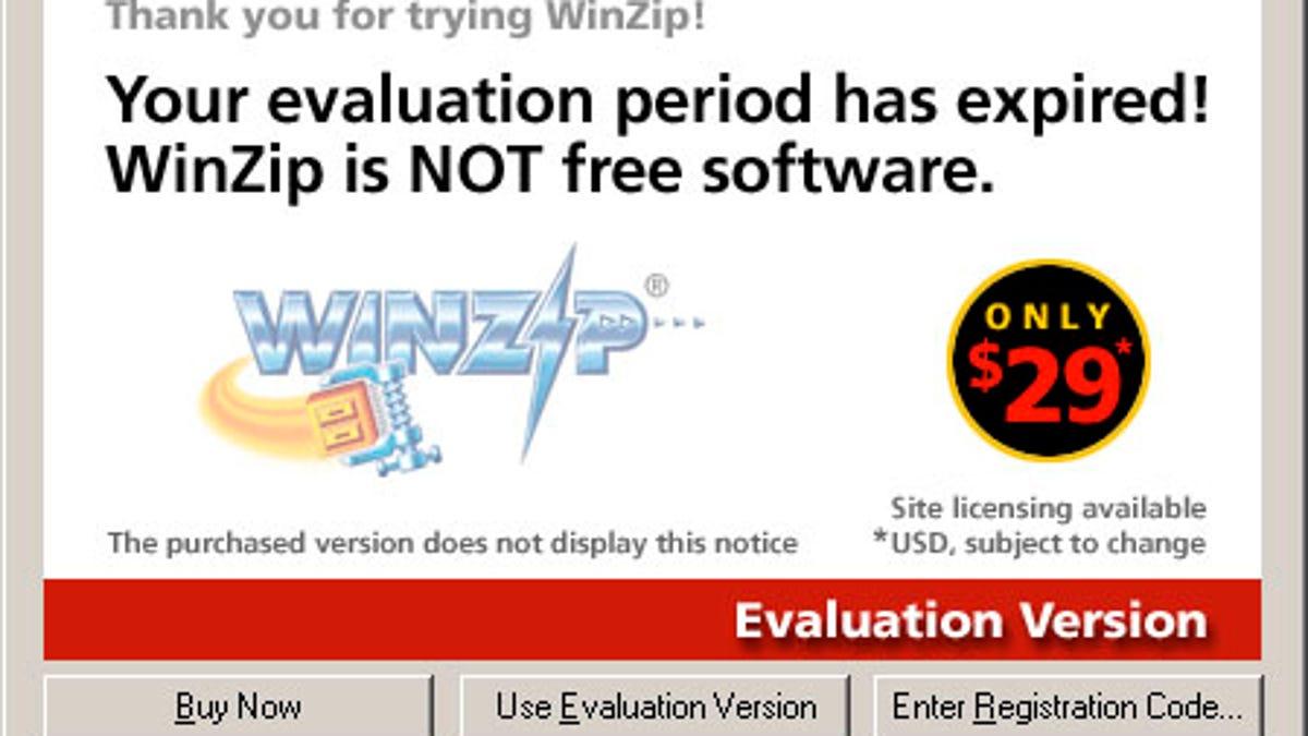 winzip evaluation code